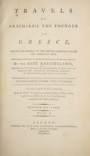Ancient History - Travels of Anacharsis the Younger in Greece Vol. 1