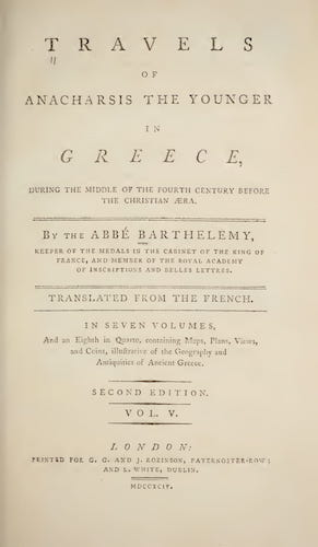 Ancient History - Travels of Anacharsis the Younger in Greece Vol. 5