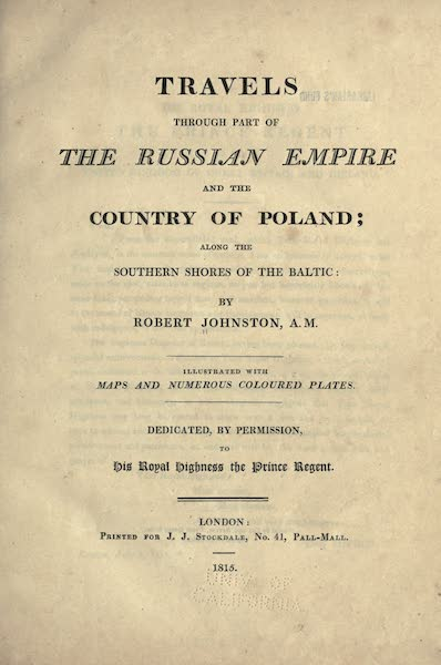 Travels Through Part of the Russian Empire - Title Page (1815)