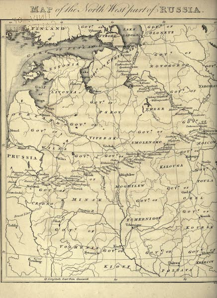 Travels Through Part of the Russian Empire - Map of the North-West Part of Russia (1815)