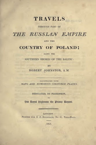 California Digital Library - Travels Through Part of the Russian Empire