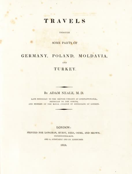 Travels Through Some Parts of Germany, Moldavia and Turkey - Title Page (1818)
