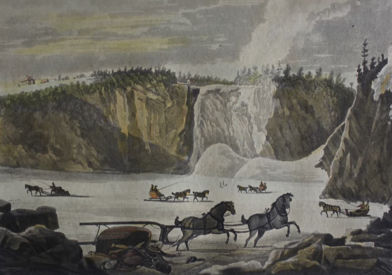 Travels Through the Canadas - Fall of Montmorenci in Winter (1807)