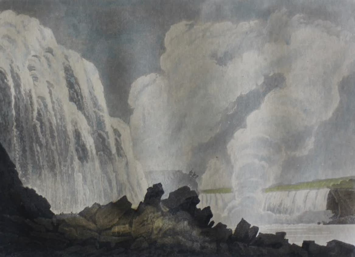 Travels Through the Canadas - Falls of Niagara from beneath the bank on the Fort Slausser side (1807)