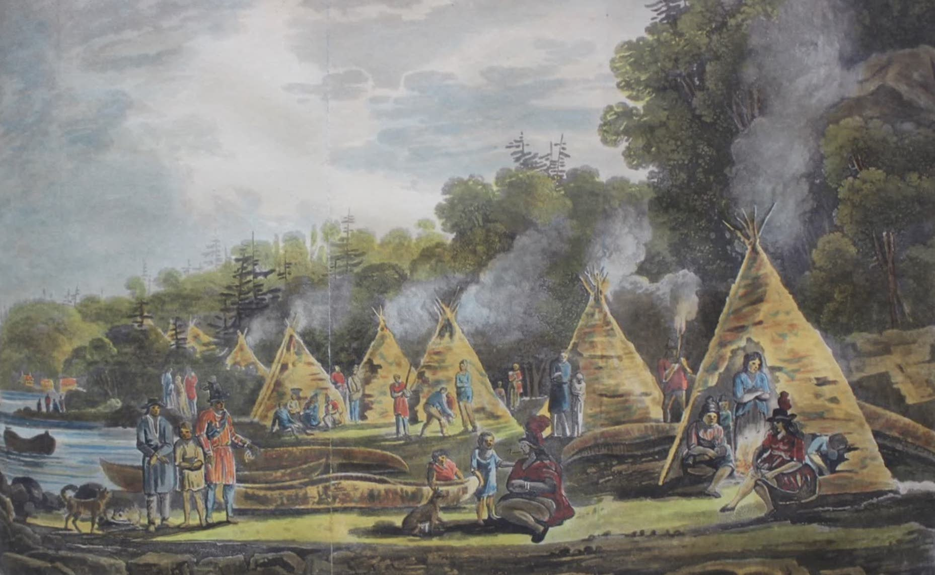 Travels Through the Canadas - Encampment of Domiciliated Indians (1807)