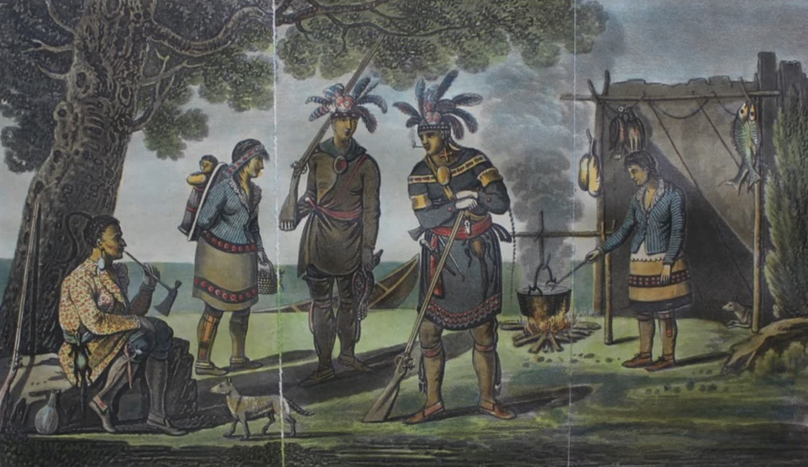Travels Through the Canadas - Costume of Domiciliated Indians (1807)