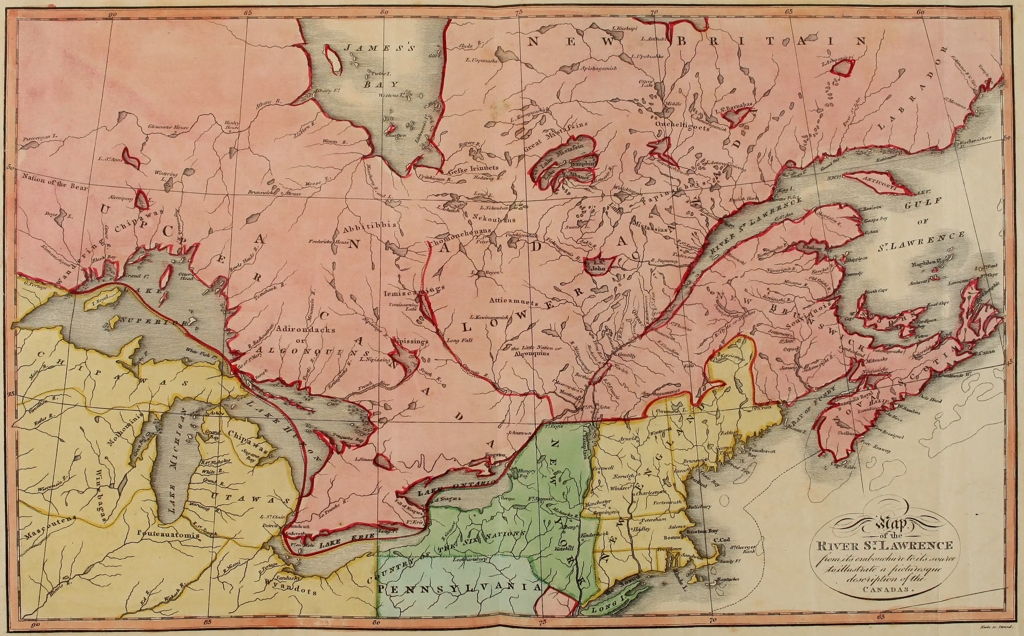 Travels Through the Canadas - Chart of the Saint Lawrence (1807)