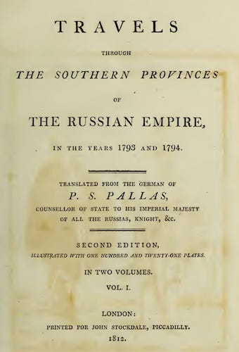 Wellcome Collection - Travels through the Southern Provinces of the Russian Empire Vol. 1