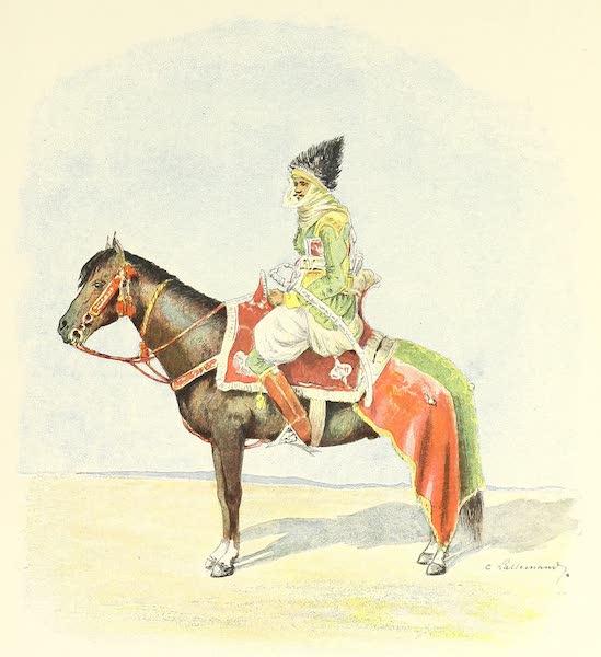 Cavalier coiffé du bonnet en plumes d'autruche, que le meilleur cavalier de la tribu a le droit de porter