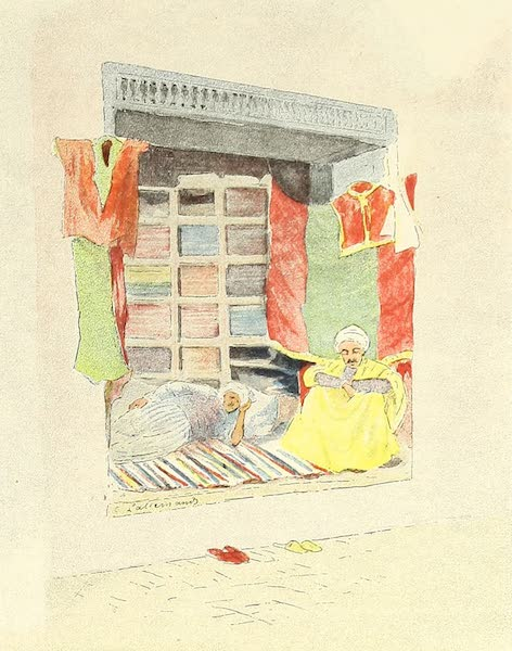 Tunis et ses Environs - Boutique de marchands d'étoffes de la rue Kachachine (1892)