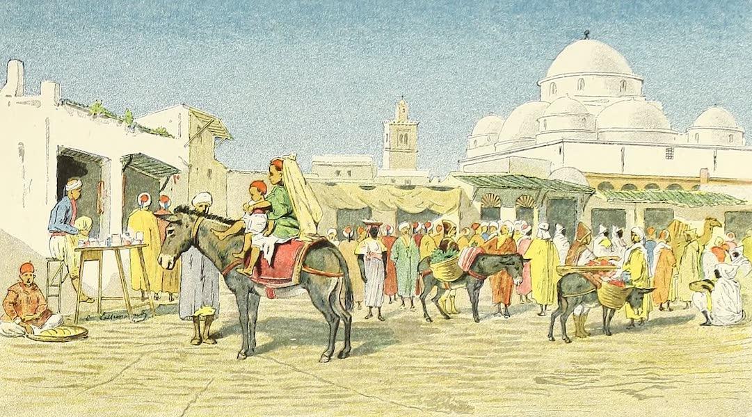 Place Bab-Souïka - Marchand de pain - Marchand de sucreries - Anes chargés de fruits - Mosquée Sidi-Mahrez