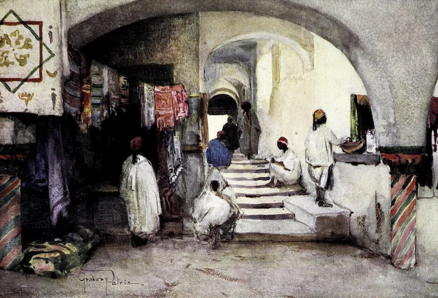 Tunis, Kairouan & Carthage - The Approach to the Ancient Slave-Market from the Souk-des-Etoffes, Tunis (1908)