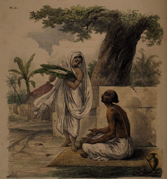 Twenty Four Plates Illustrative of Bengal - A Hindoo Woman serving her husband dinner (1832)
