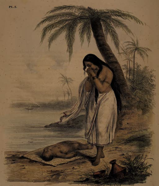 Twenty Four Plates Illustrative of Bengal - A Hindoo Woman exposing the body of her infant on the borders of the Ganges (1832)
