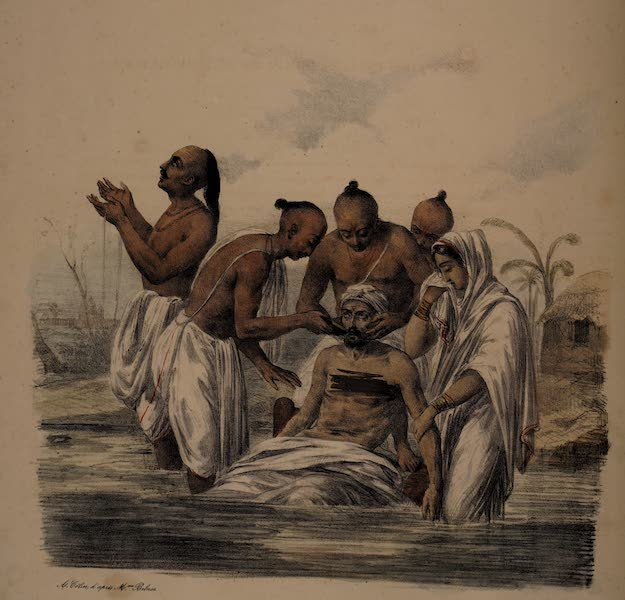 Twenty Four Plates Illustrative of Bengal - A dying Hindoo brought to the Ganges (1832)