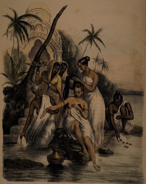 Twenty Four Plates Illustrative of Bengal - Ablutions of a young Hindoo Woman of rank on the banks of the Ganges (1832)