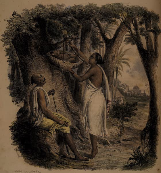 Twenty Four Plates Illustrative of Bengal - A Hindoo Woman exposing her infant supposed to be under the influence of a malignant spirit (1832)