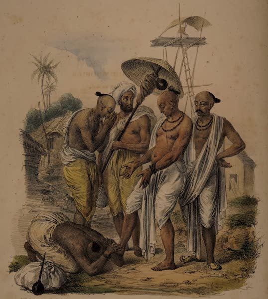 Twenty Four Plates Illustrative of Bengal - The village Gooroo receiving the homage of travellers (1832)