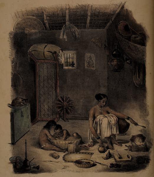 Twenty Four Plates Illustrative of Bengal - Interior of a native Hut (1832)