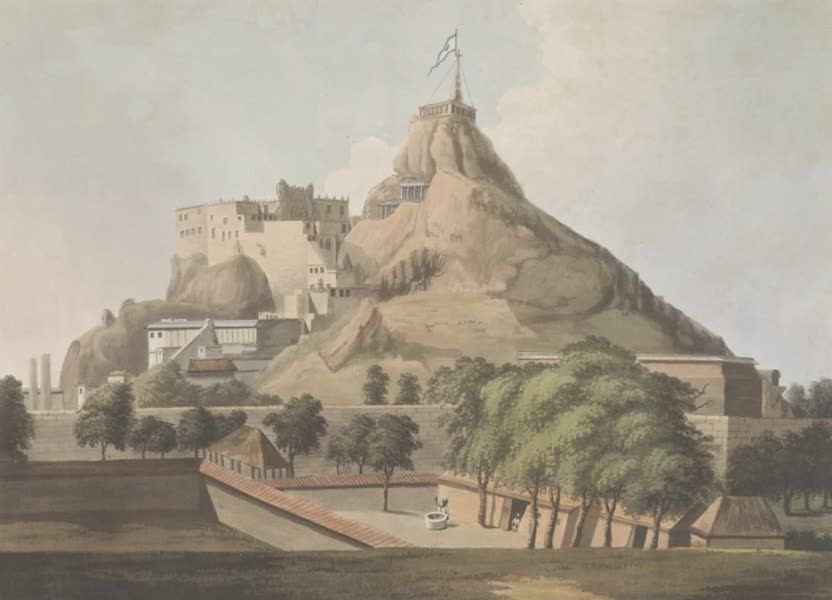 24 Views in Indostan by William Orme - South East View of the Rock Of Tritchinopoly (1802)
