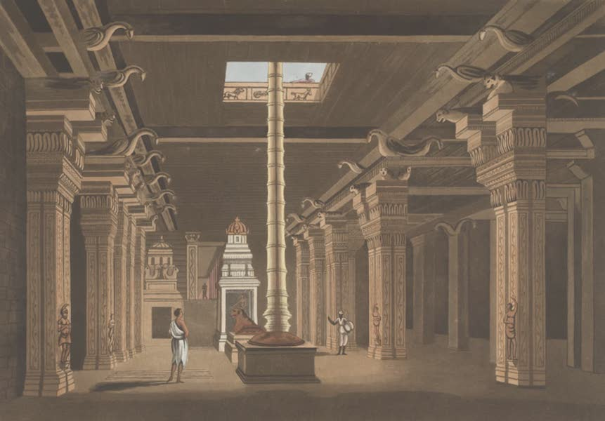 24 Views in Indostan by William Orme - A Choultry, or Place of Worship Carved Out of the Rock of Tritchinopoly (1802)