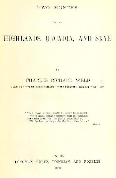Two Months in the Highlands, Orcadia, and Skye - Title Page (1860)