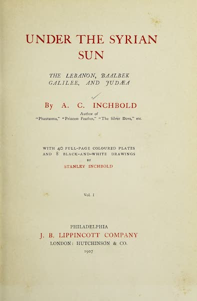 Under the Syrian Sun Vol. 1 - Title Page (1907)