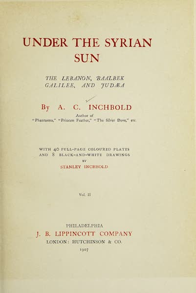 Under the Syrian Sun Vol. 2 - Title Page (1907)