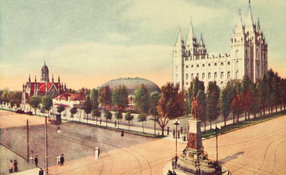 Utah, the Land of Blossoming Valleys - The Temple Grounds, Salt Lake City (1922)