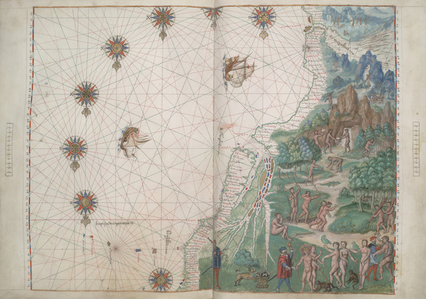 Vallard Atlas - Southeastern South America, Straits of Magellan (1547)