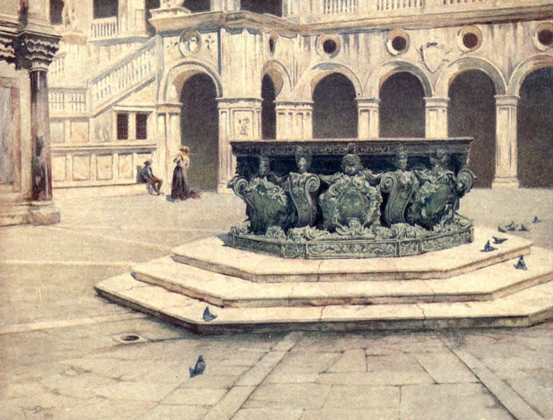 Venice - Bronze Well-Head by Alberghetti - The Courtyard of Palazzo Ducale (1907)