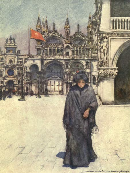 Venice, by Mortimer Menpes - Crossing the Piazza (1904)