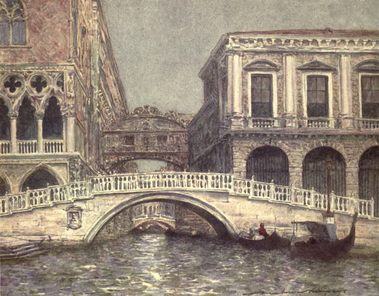 Venice, by Mortimer Menpes - The Bridge of Sighs and Straw Bridge (1904)