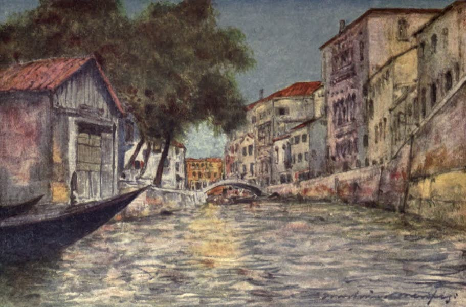 Venice, by Mortimer Menpes - A Squero or Boat-building Yard (1904)