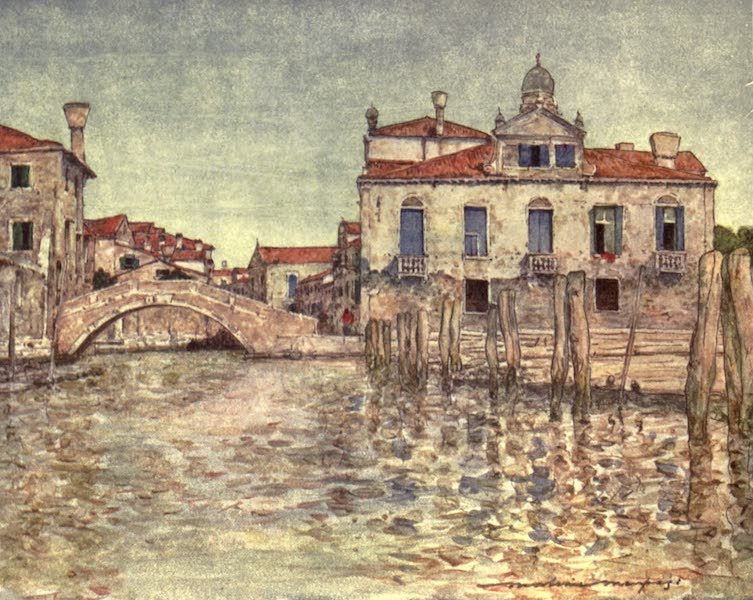Venice, by Mortimer Menpes - By a Squero or Boat-building Yard (1904)