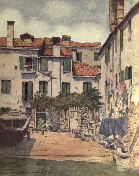 Venice, by Mortimer Menpes - A Squero or Boat-building Yard in Venice (1904)