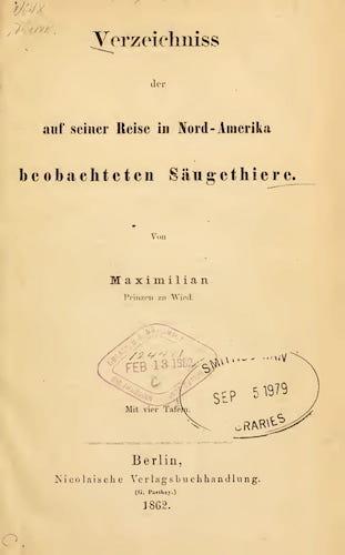 Verzeichniss der auf Seiner Reise in Nord-Amerika (1862)