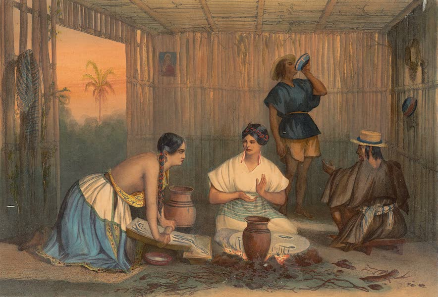 Viaje Pintoresco y Arqueolojico de la Republica Mejicana - [Untitled view of Mexican women making tortillas with men in the background] (1840)