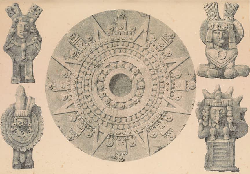 Viaje Pintoresco y Arqueolojico de la Republica Mejicana - Plan de la Piedra de Sacrificio y Figuras de Barro (1840)