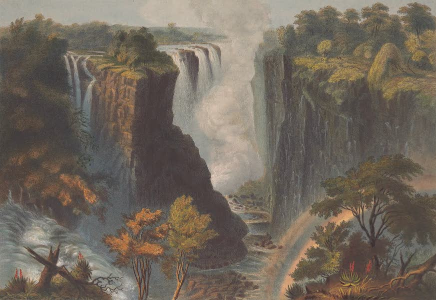 Victoria Falls, Zambesi River - The Falls from the Western End of the Chasm (1865)