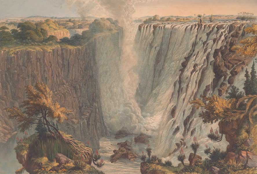 Victoria Falls, Zambesi River - The Falls from the East End of the Chasm to Garden Island (1865)