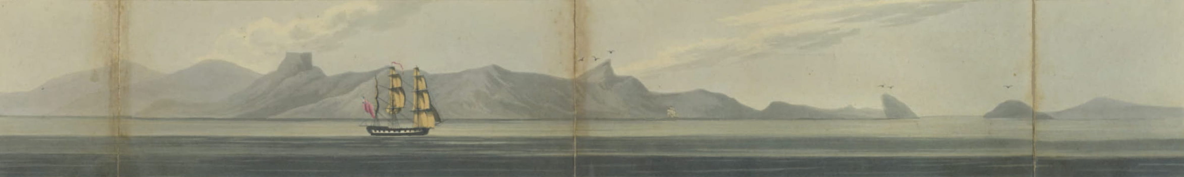 Views and Costumes of the City and Neighbourhood of Rio de Janeiro - Approach to Rio de Janeiro, from the Westward toward Sugar Loaf, about Four Leagues Distant (1822)