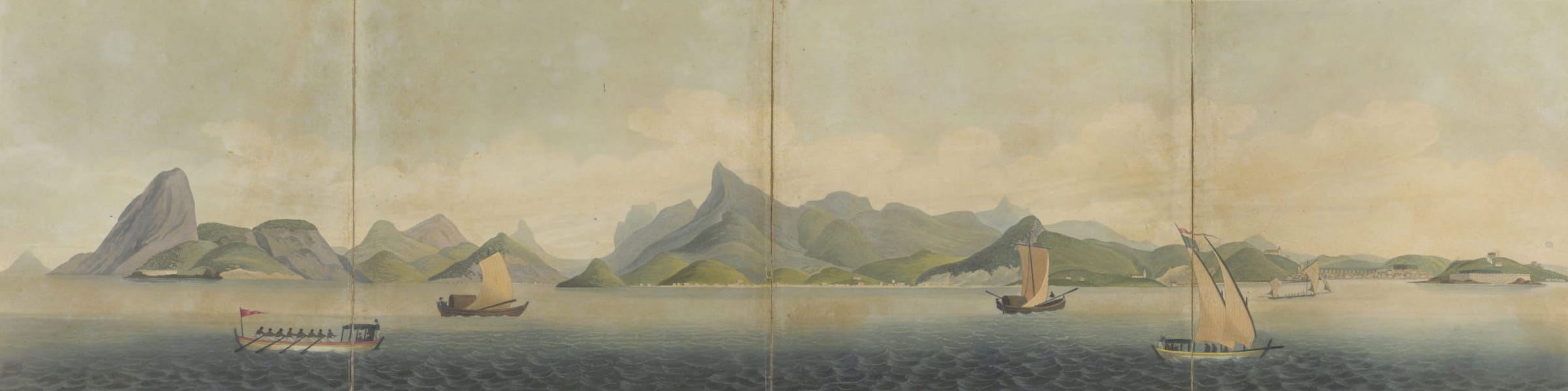 Views and Costumes of the City and Neighbourhood of Rio de Janeiro - View of the Western Side of the Harbour of Rio de Janeiro  (1822)