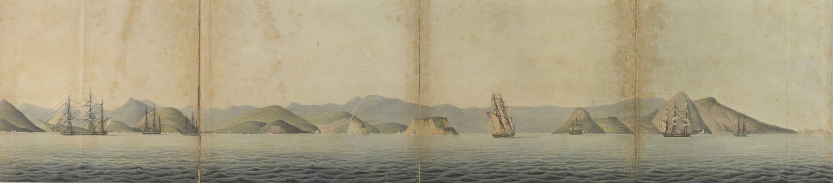 Views and Costumes of the City and Neighbourhood of Rio de Janeiro - Eastern Side of the Harbour of Rio de Janeiro (1822)
