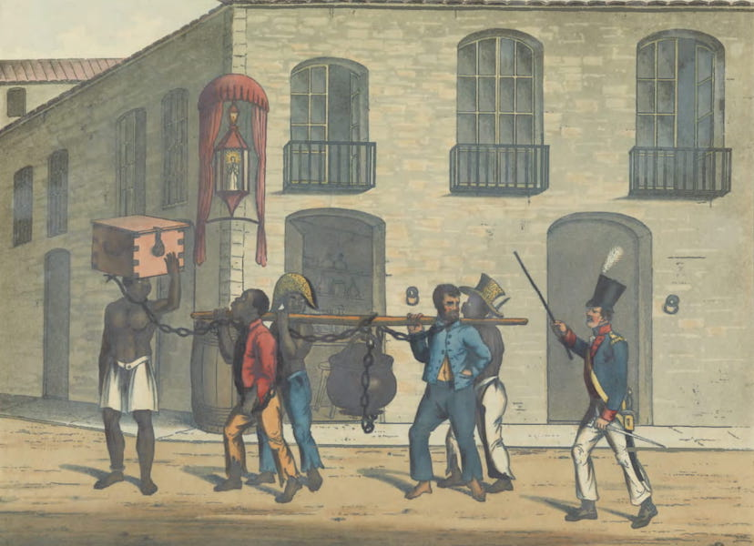 Views and Costumes of the City and Neighbourhood of Rio de Janeiro - Criminals Carrying Provisions to the Prison (1822)