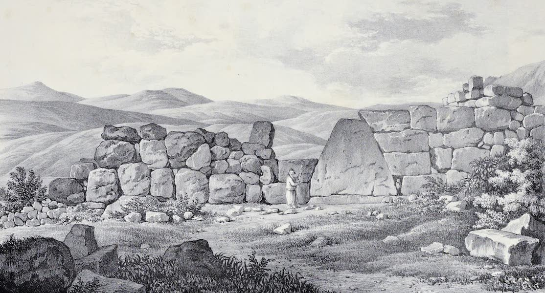 Views and descriptions of Cyclopian, or, Pelasgic remains - Back of the Gate of the Lions at Mycenae (1834)