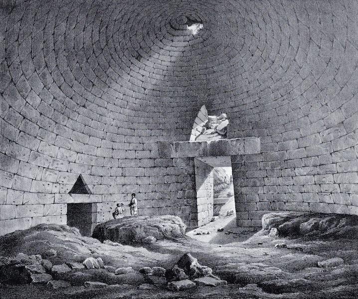 Views and descriptions of Cyclopian, or, Pelasgic remains - Interior of the Treasury of Atreus (1834)