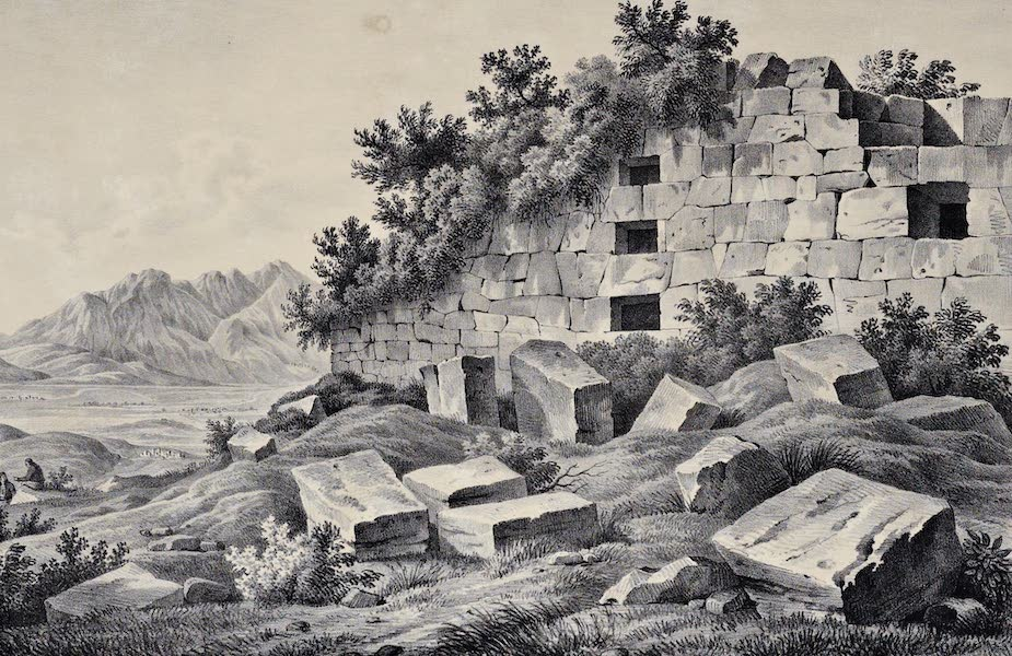 Views and descriptions of Cyclopian, or, Pelasgic remains - Terrace Wall and Drains of the Temple of Minerva Kranaia (1834)