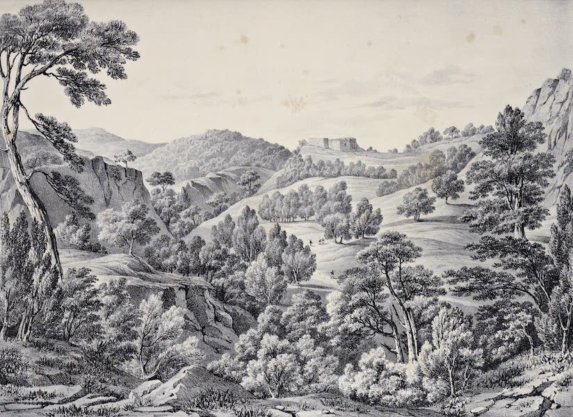 Views and descriptions of Cyclopian, or, Pelasgic remains - Castle of Phyle in Attica Looking Towards Athens (1834)