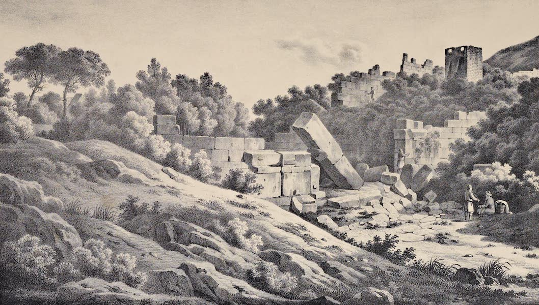Views and descriptions of Cyclopian, or, Pelasgic remains - Exterior View of the Great Gate and Walls of Messene (1834)